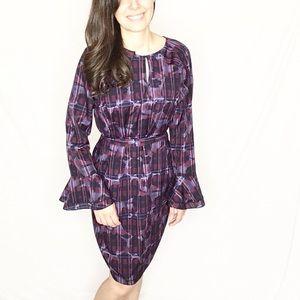 Banana Republic   Purple Plaid/Floral Print Dress